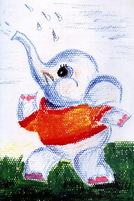 大象-蜡笔画图集15