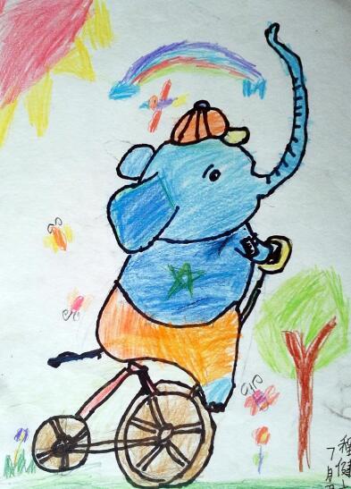 大象-蜡笔画图集16