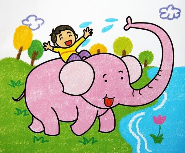 大象-蜡笔画图集17