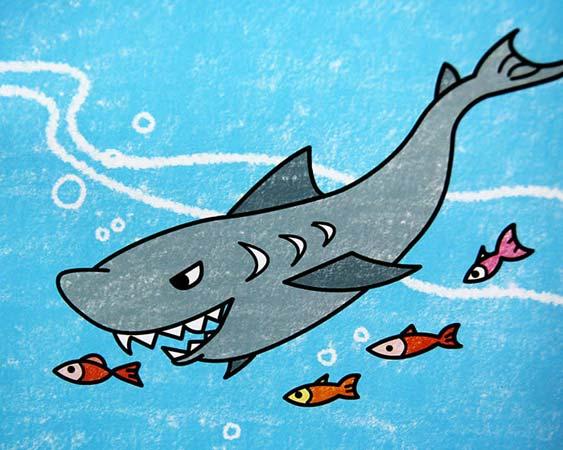 大鲨鱼-蜡笔画图集