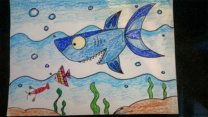 大鲨鱼-蜡笔画图集2