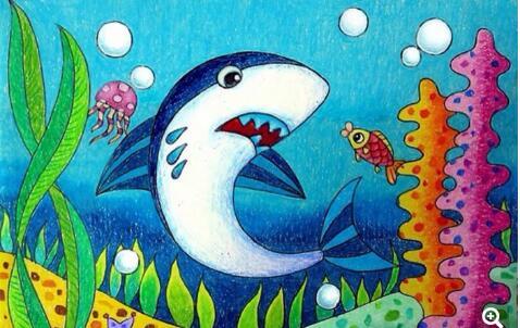 大鲨鱼-蜡笔画图集3