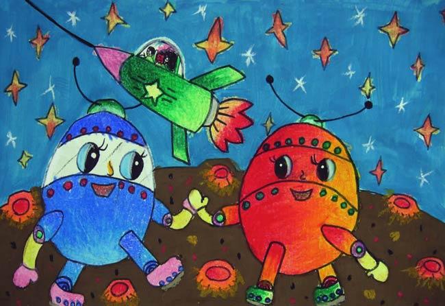 太空-蜡笔画图集2