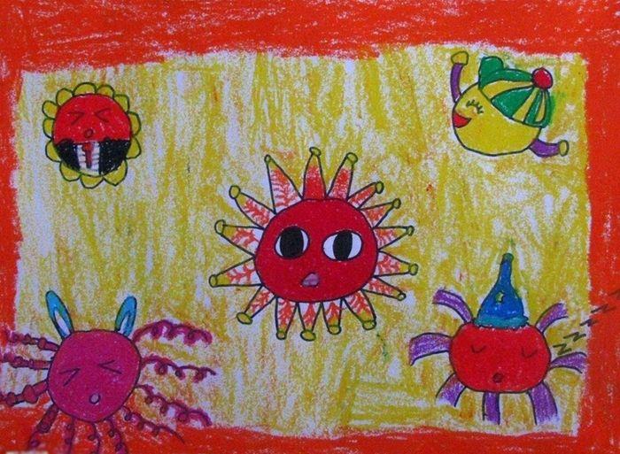太阳-蜡笔画图集7