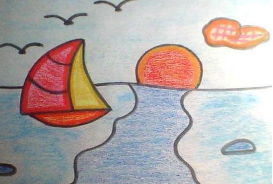 太阳-蜡笔画图集8