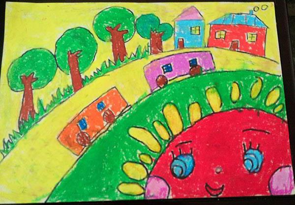 太阳-蜡笔画图集11