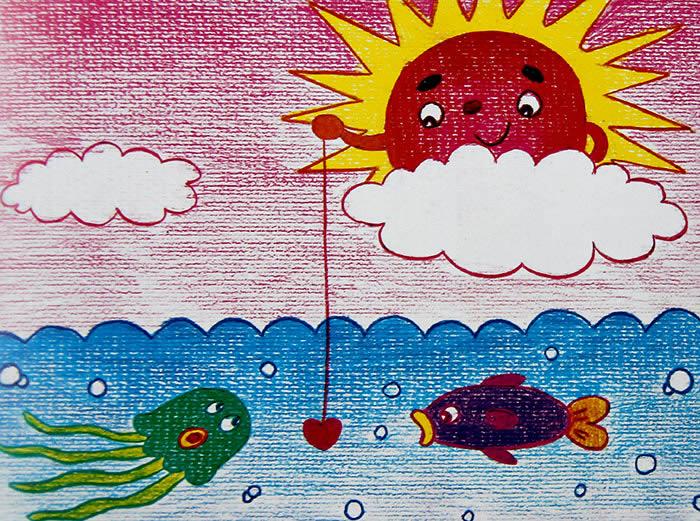 太阳-蜡笔画图集12