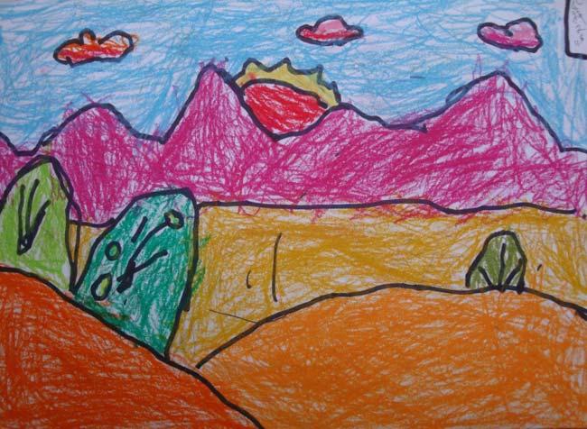 太阳-蜡笔画图集15