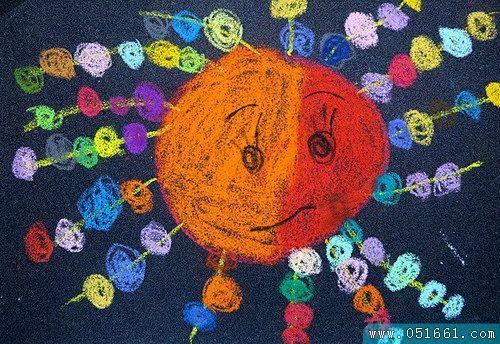 太阳-蜡笔画图集16
