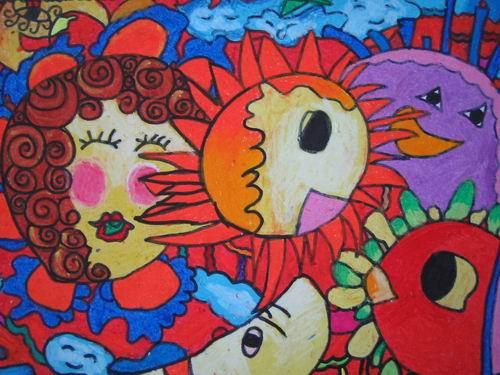 太阳-蜡笔画图集18