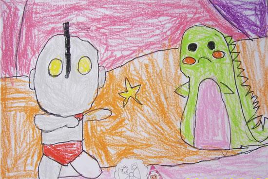 奥特曼与小怪兽-蜡笔画图集2