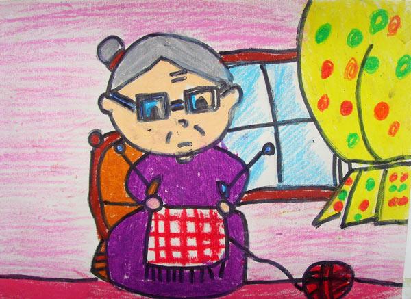 奶奶-蜡笔画图集