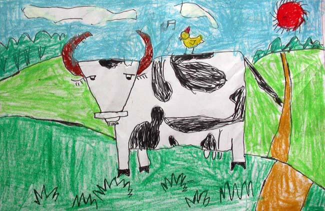 奶牛-蜡笔画图集2