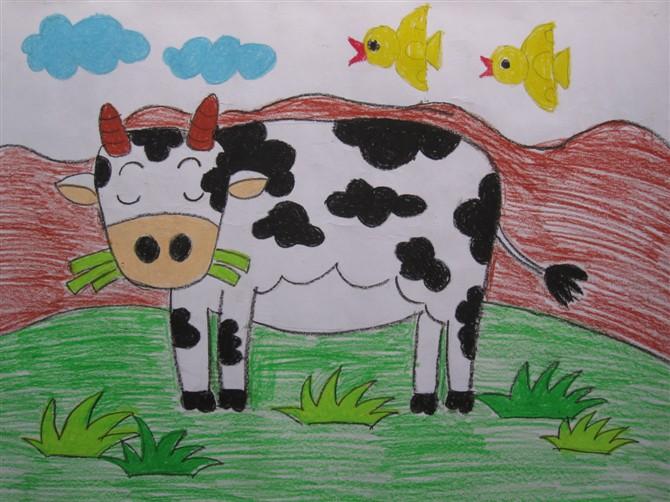 奶牛-蜡笔画图集3