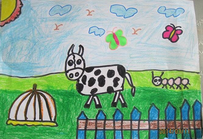 奶牛-蜡笔画图集4