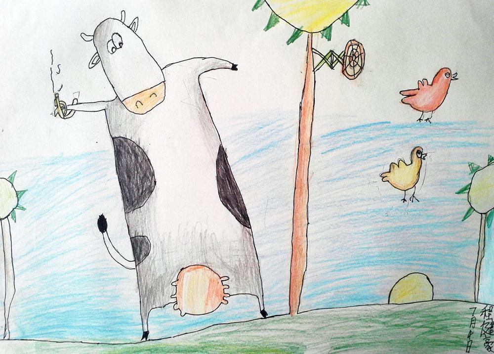 奶牛-蜡笔画图集5