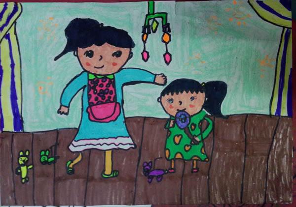 妈妈-蜡笔画图集2
