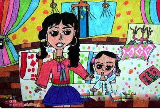 妈妈-蜡笔画图集6