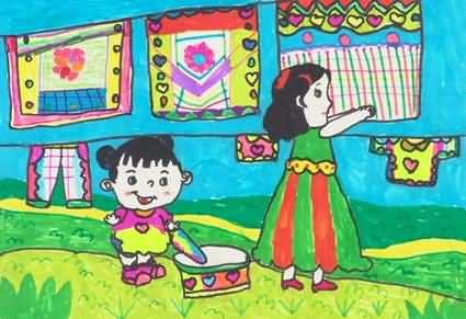 妈妈-蜡笔画图集7