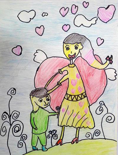 妈妈-蜡笔画图集12