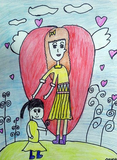 妈妈-蜡笔画图集15