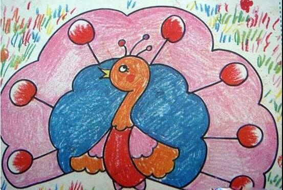孔雀-蜡笔画图集2