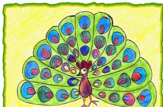 孔雀-蜡笔画图集5
