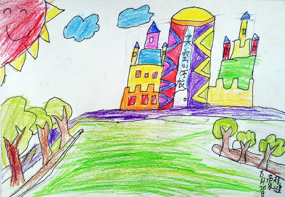 学校-蜡笔画图集图片