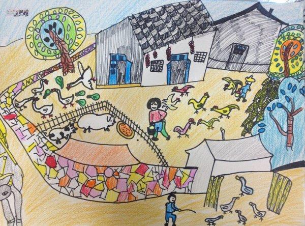 家禽养殖厂-蜡笔画图集