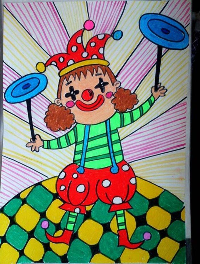 小丑-蜡笔画图集
