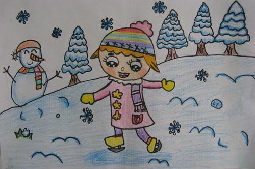 冬天的画_小女孩-蜡笔画图集
