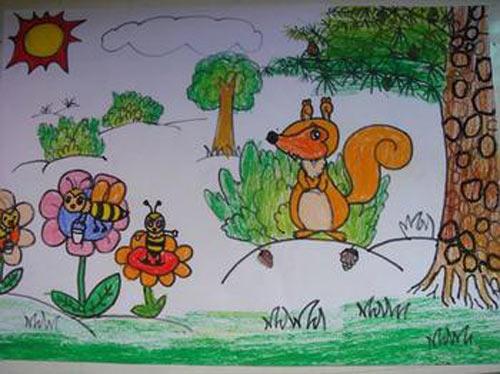 小松鼠-蜡笔画图集