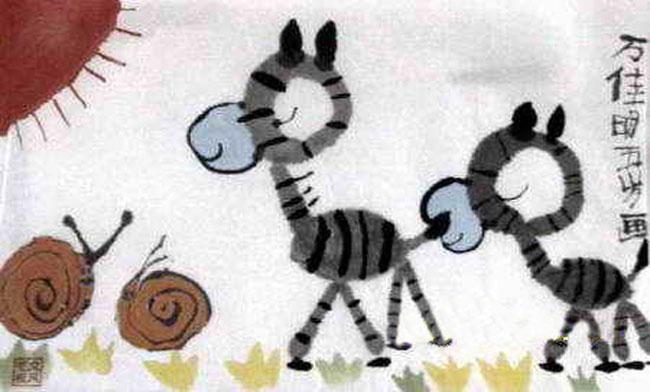 小毛驴-蜡笔画图集