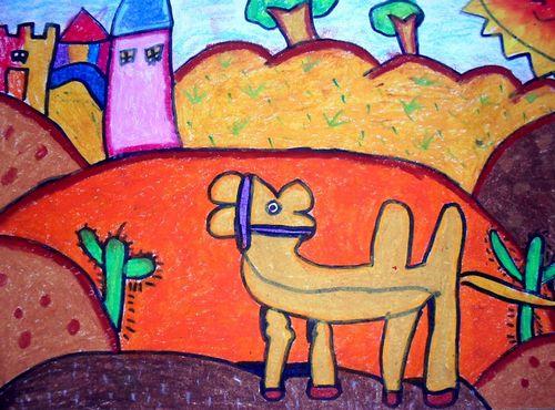 小狗-蜡笔画图集