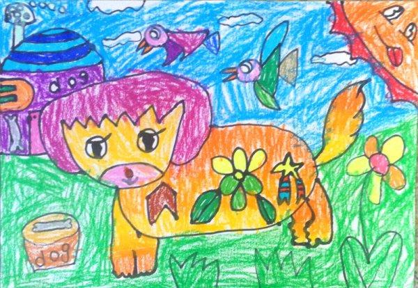 小狗-蜡笔画图集2