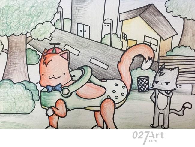 小狗-蜡笔画图集6