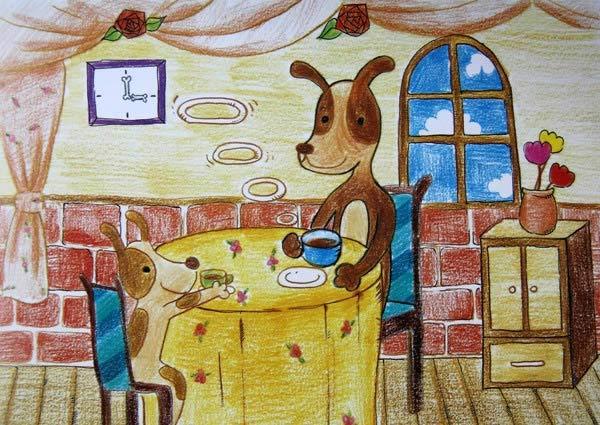 小狗-蜡笔画图集8