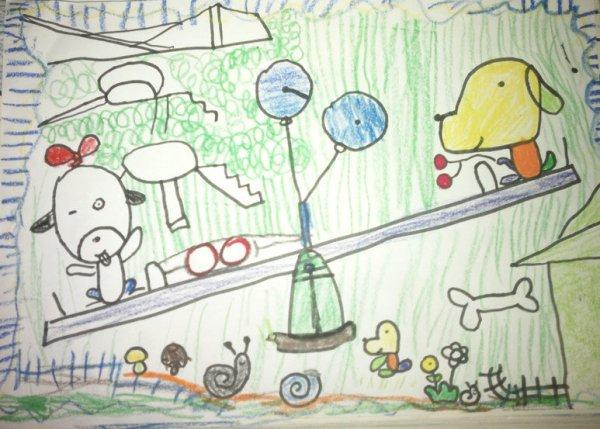 小狗-蜡笔画图集10