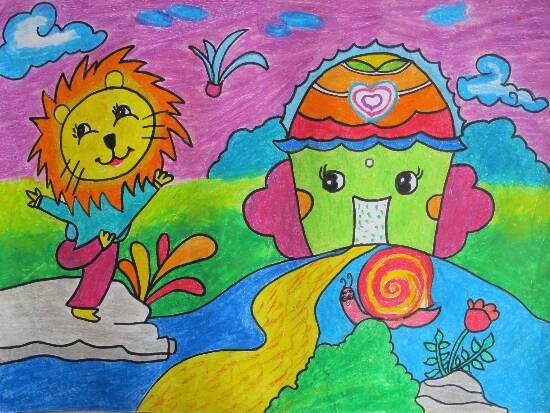 小狮子-蜡笔画图集图片_儿童蜡笔画_少儿图库_中国