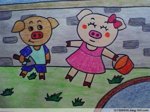 小猪-蜡笔画图集图片_儿童蜡笔画_少儿图库_中国儿童图片