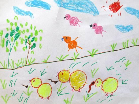 小鸡-蜡笔画图集2