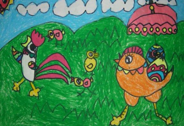 小鸡-蜡笔画图集3