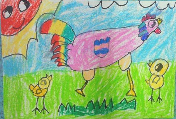 小鸡-蜡笔画图集5