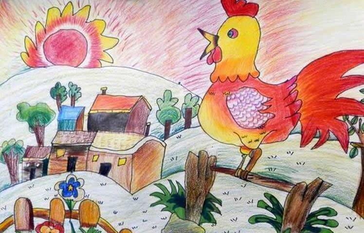 小鸡-蜡笔画图集7