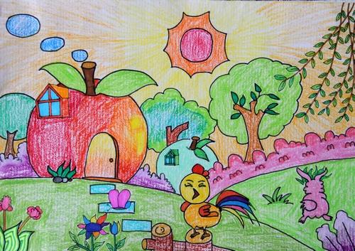 小鸡-蜡笔画图集8