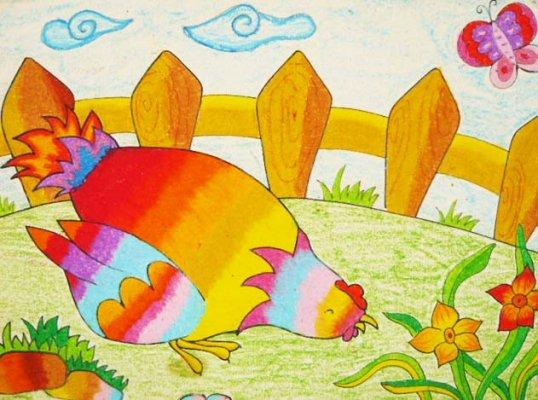 小鸡-蜡笔画图集9