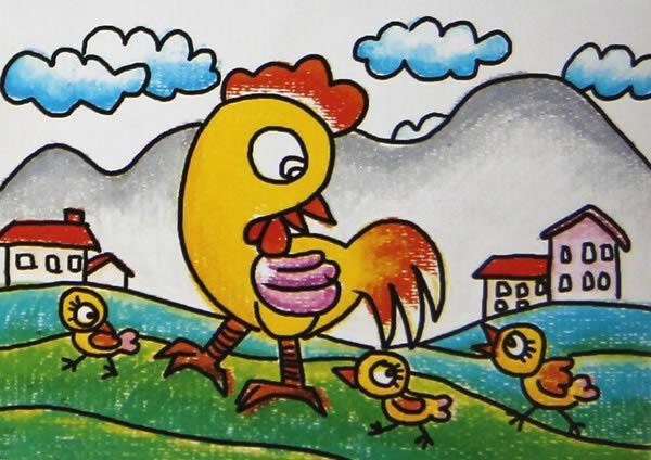 小鸡-蜡笔画图集10