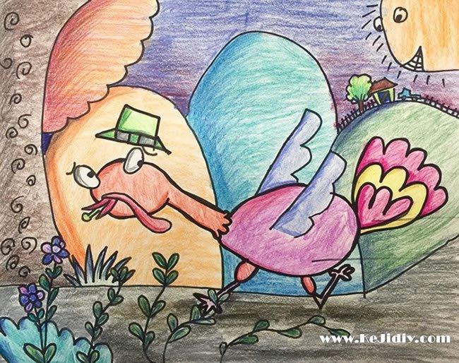 小鸡-蜡笔画图集11