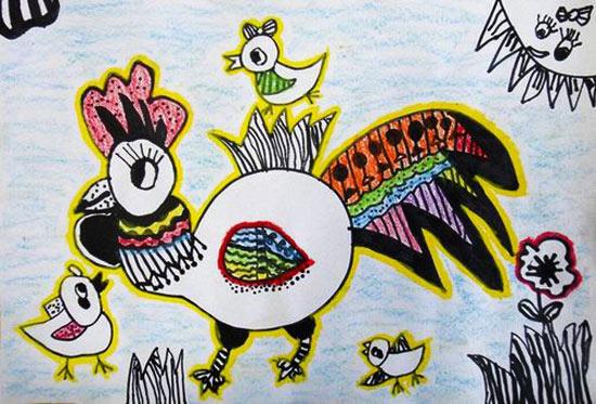 小鸡-蜡笔画图集12