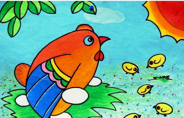 小鸡-蜡笔画图集13